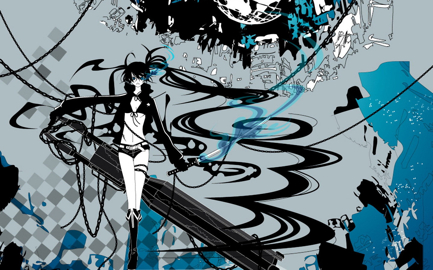 Download hd 1440x900 Black Rock Shooter desktop background ID:454032 for free