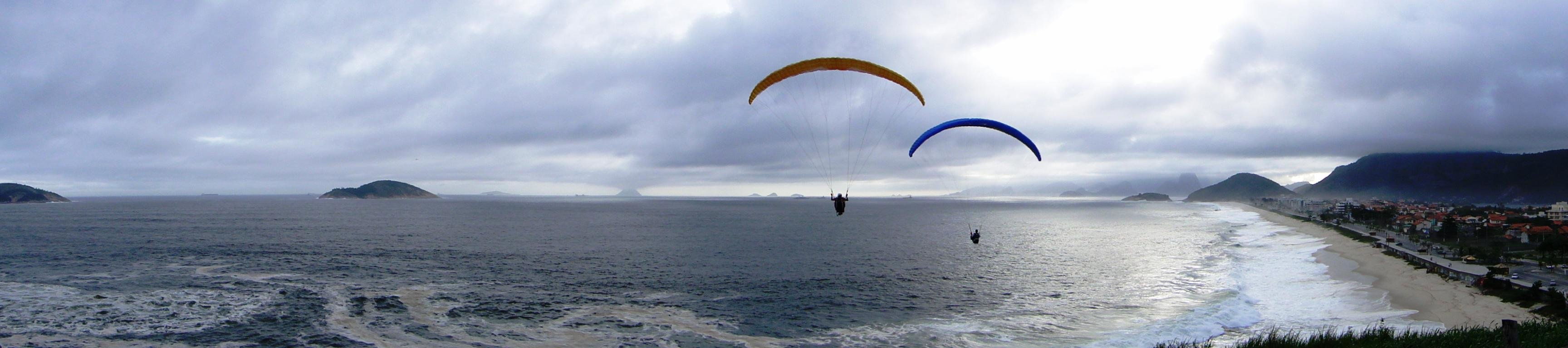 Download triple monitor 3456x768 Paragliding computer background ID:31113 for free