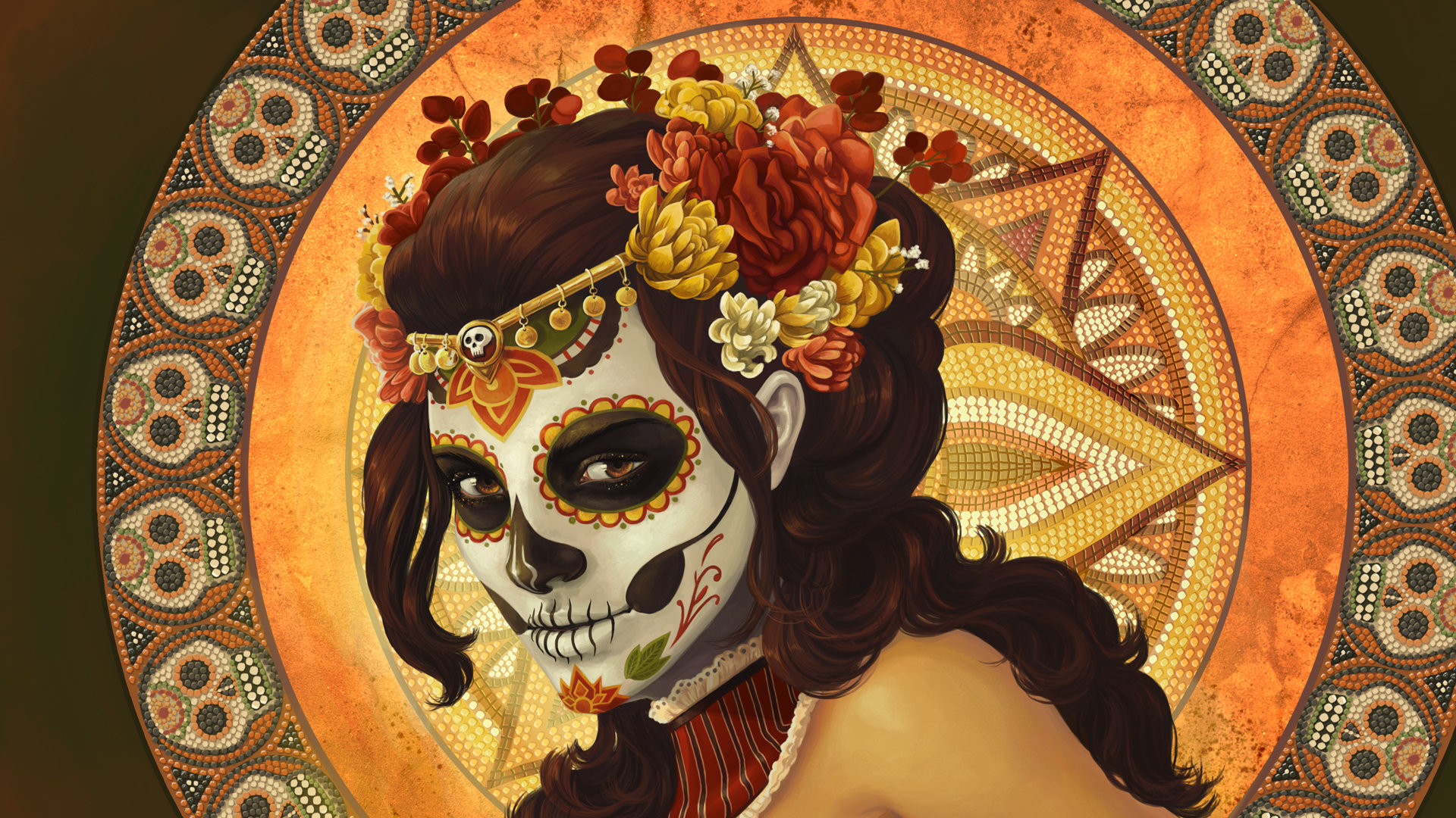 Best Sugar Skull Background ID497607 For High Resolution Full Hd 1920x1080 Computer