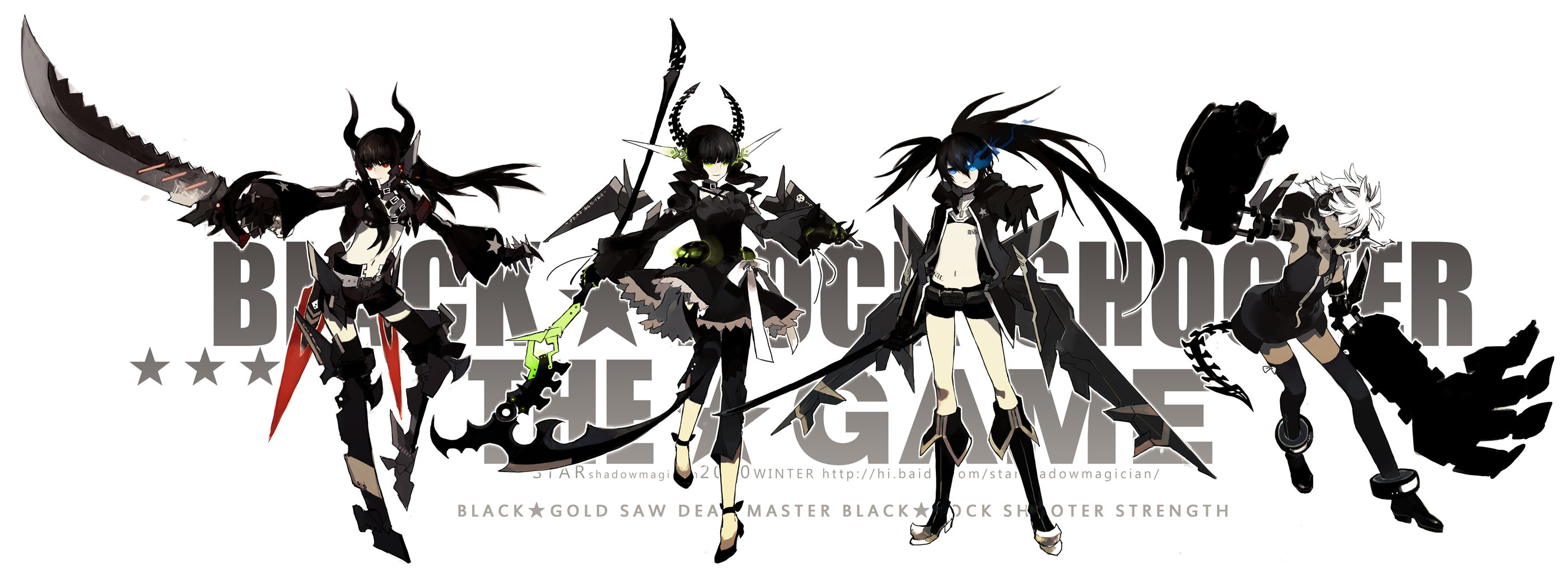 Awesome Dead Master (Black Rock Shooter) free background ID:454549 for dual screen 2800x1050 computer