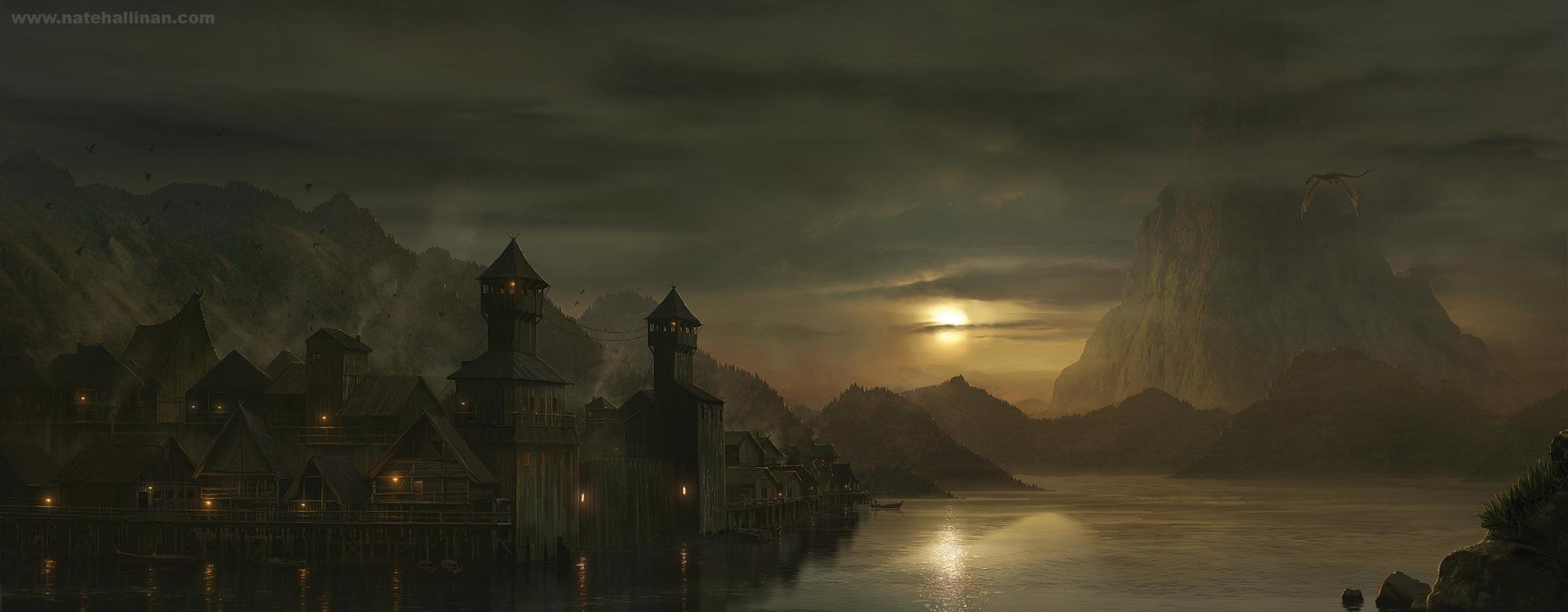 High resolution Fantasy landscape dual monitor 2304x900 background ID:143868 for desktop