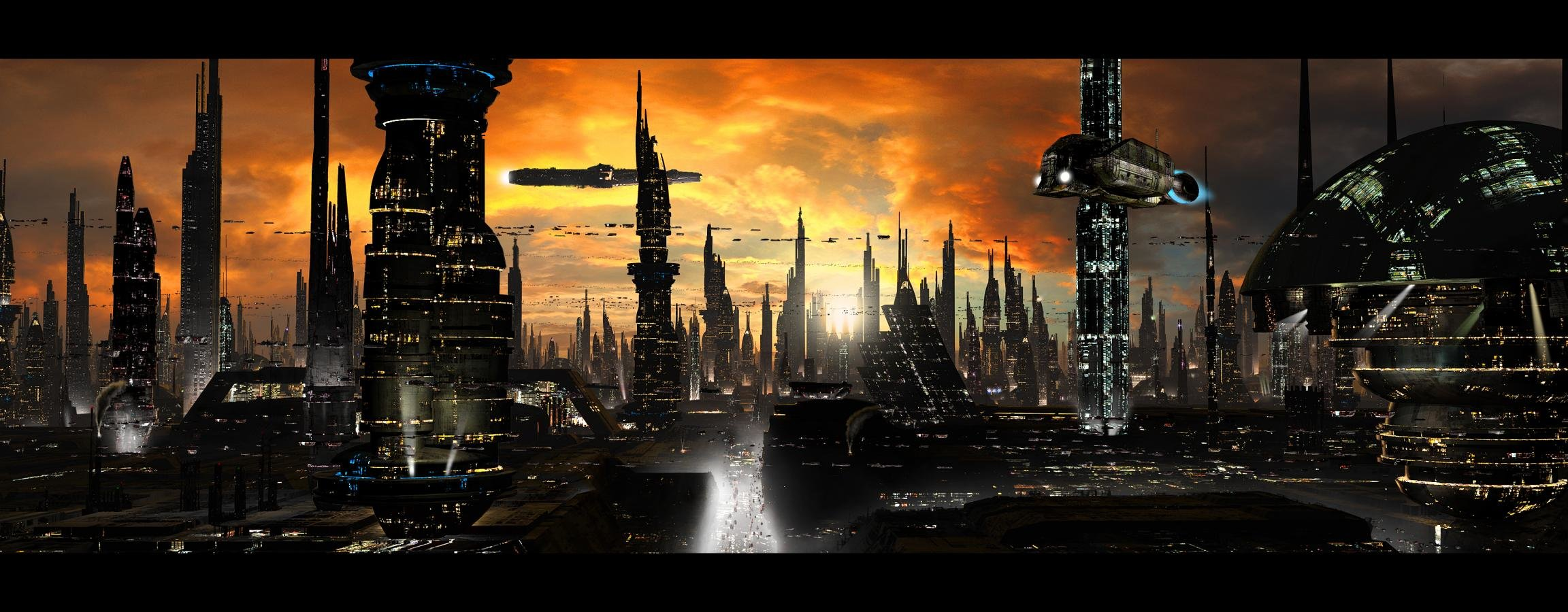 High Resolution Futuristic City Dual Monitor 2304x900 Wallpaper ID87809 For Computer