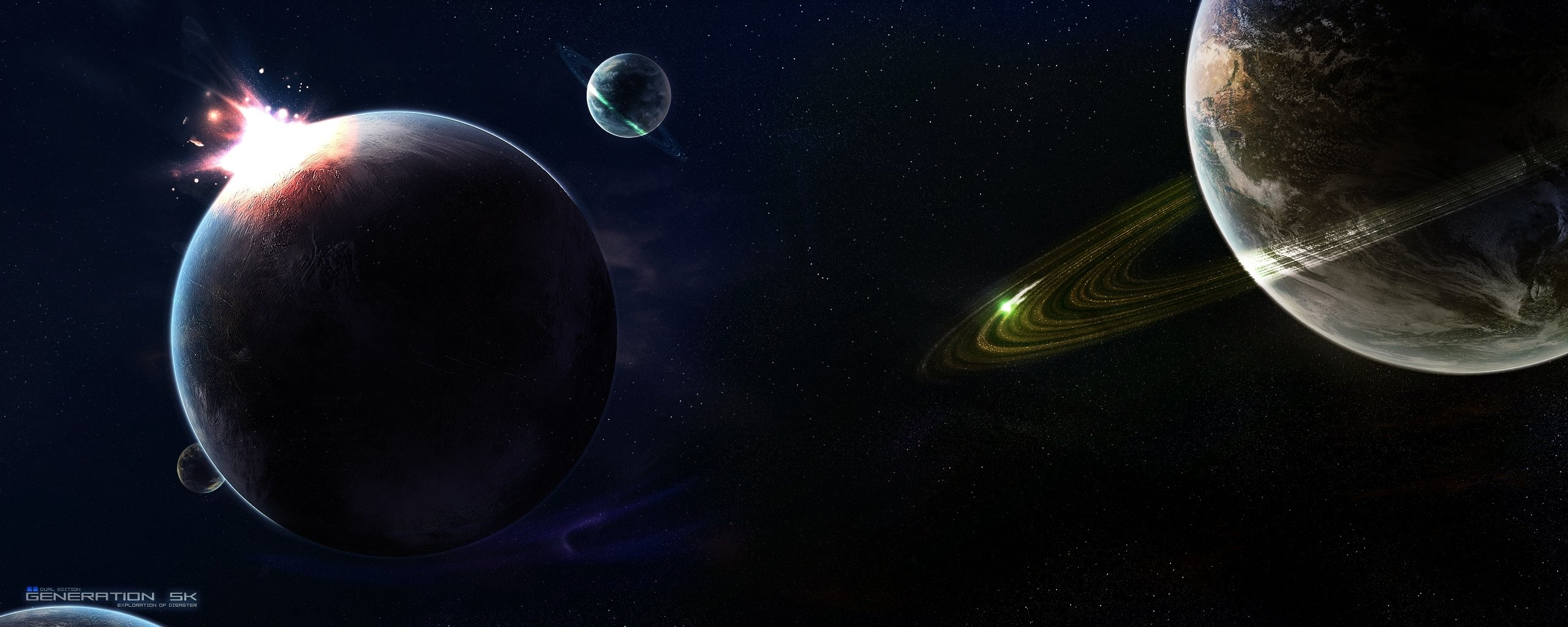 Download dual monitor 2569x1024 Planets PC wallpaper ID:152957 for free