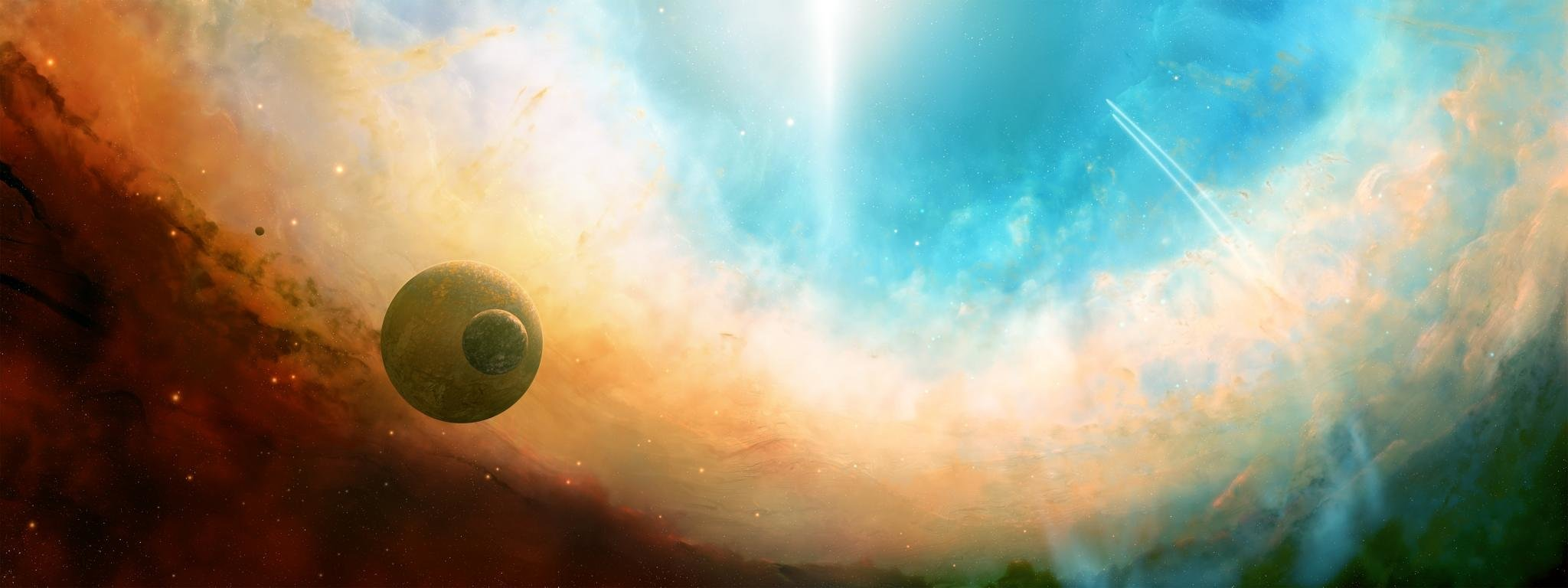 Download dual monitor 2048x768 Planets PC wallpaper ID:153610 for free