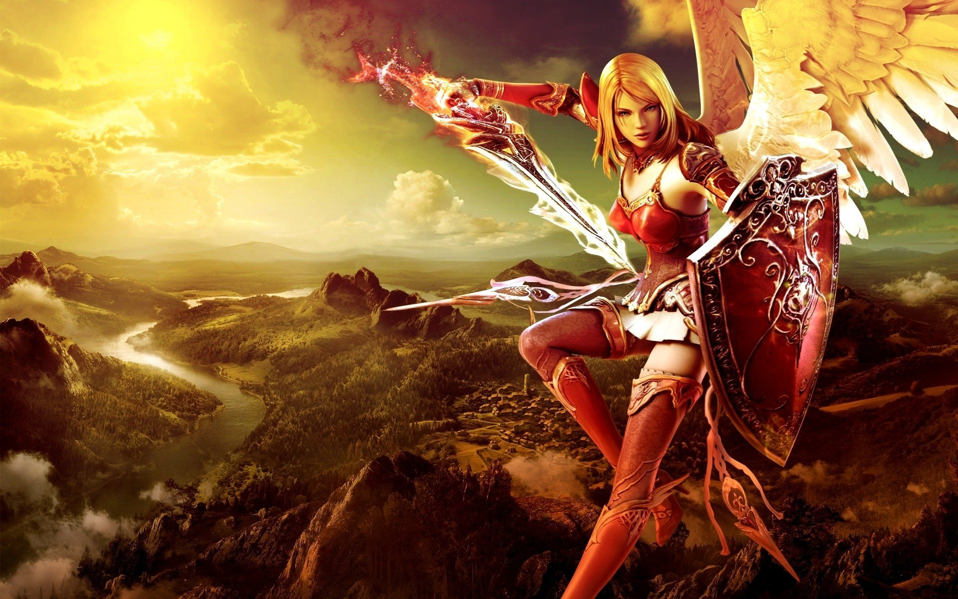 Download hd 1920x1200 Angel Warrior PC wallpaper ID:352367 for free