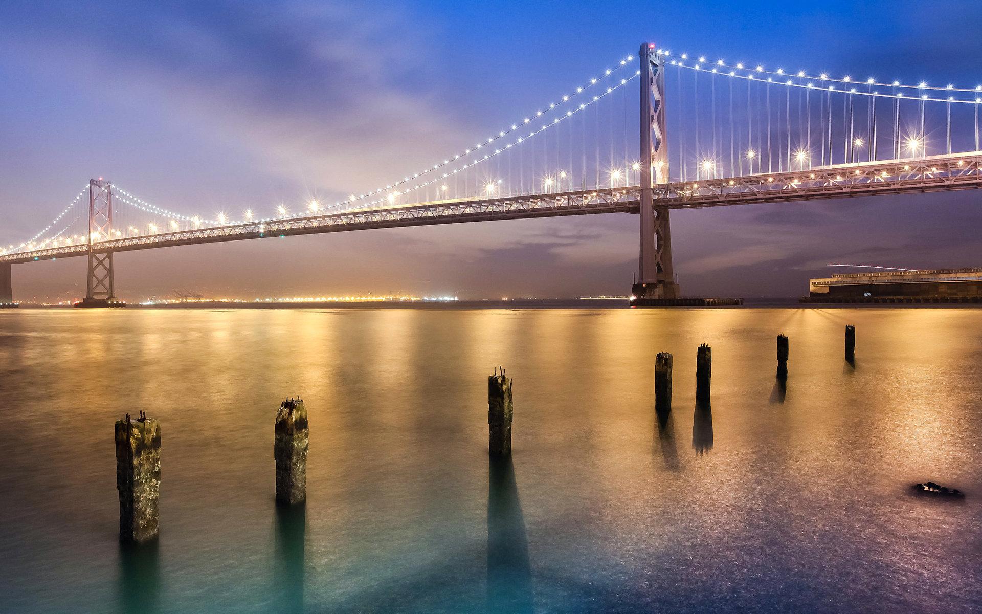 Evening Crossing, Bay Bridge, San Francisco, California  № 3721005  скачать
