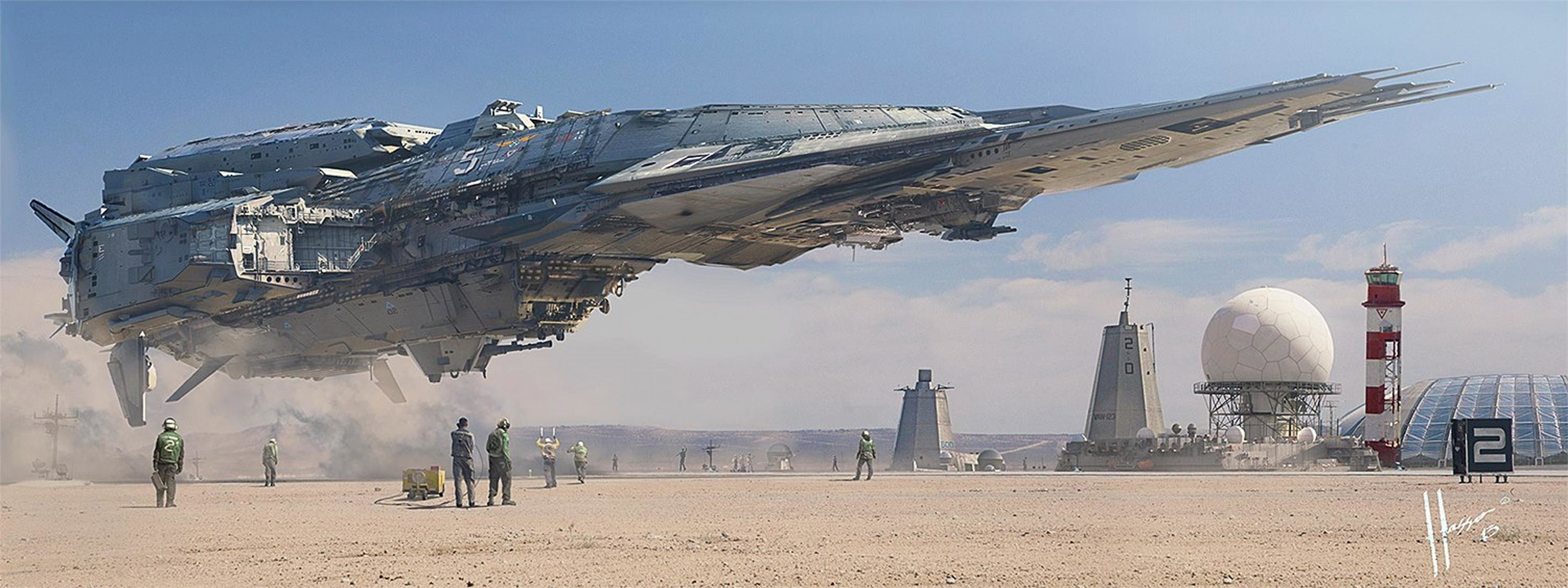 Best Spaceship background ID:183688 for High Resolution dual monitor 3840x1440 PC