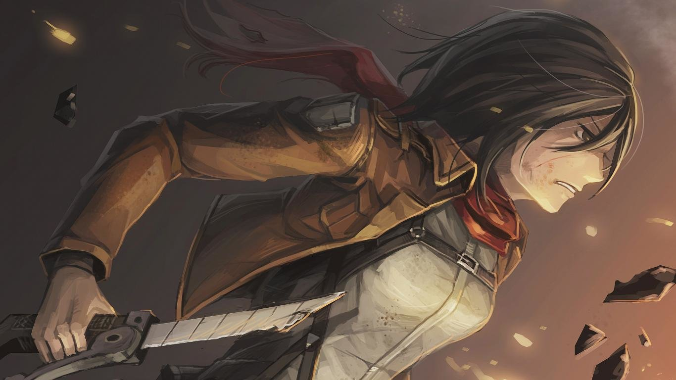 Mikasa Ackerman Wallpapers 1366x768 Laptop Desktop Backgrounds
