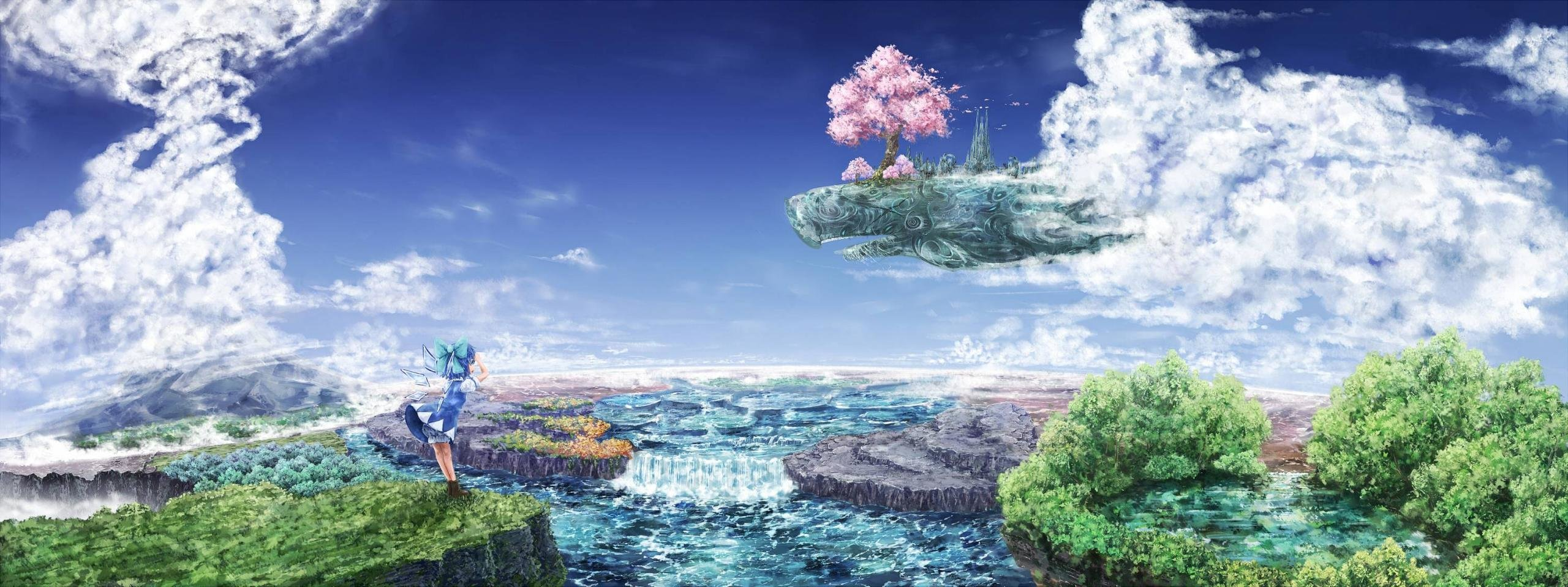 Download dual monitor 2560x960 Cirno (Touhou) PC wallpaper ID:220273 for free
