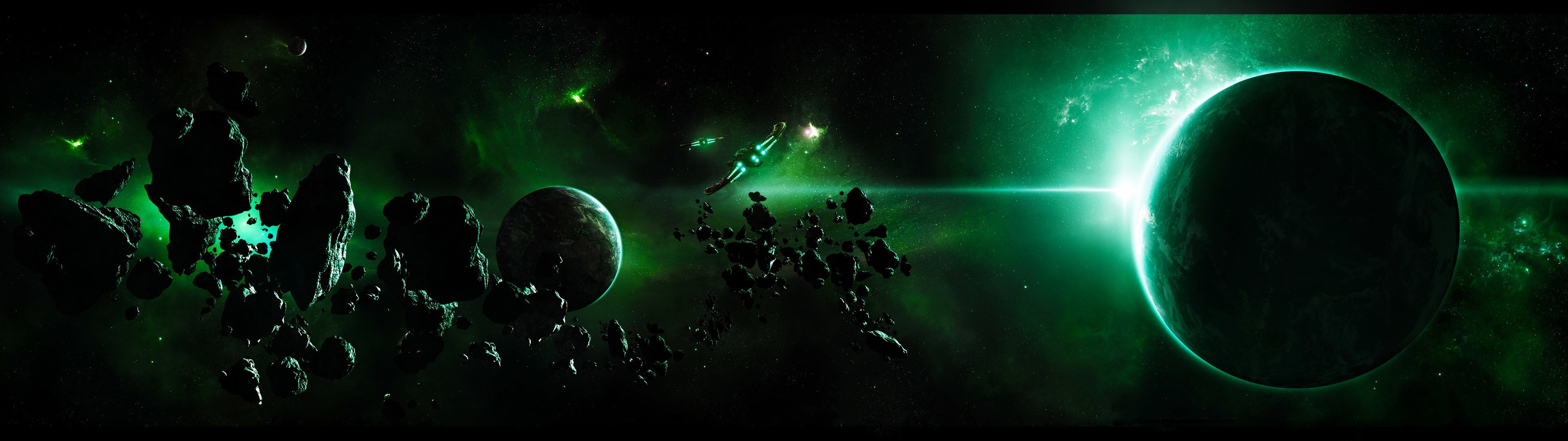 Download dual screen 3840x1080 Planets desktop background ID:153566 for free