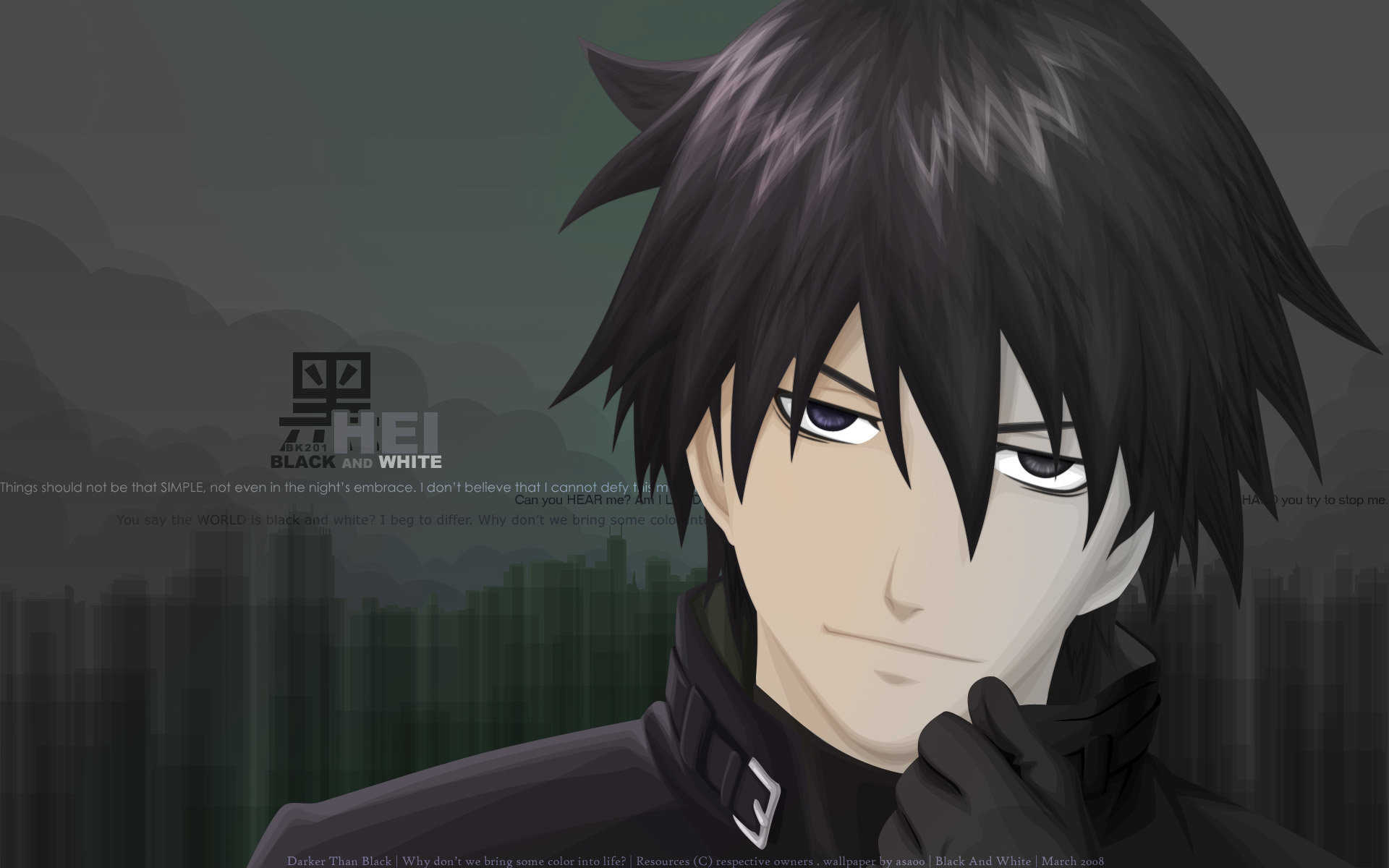 Download hd 1920x1200 Hei (Darker Than Black) computer background ID:110288 for free
