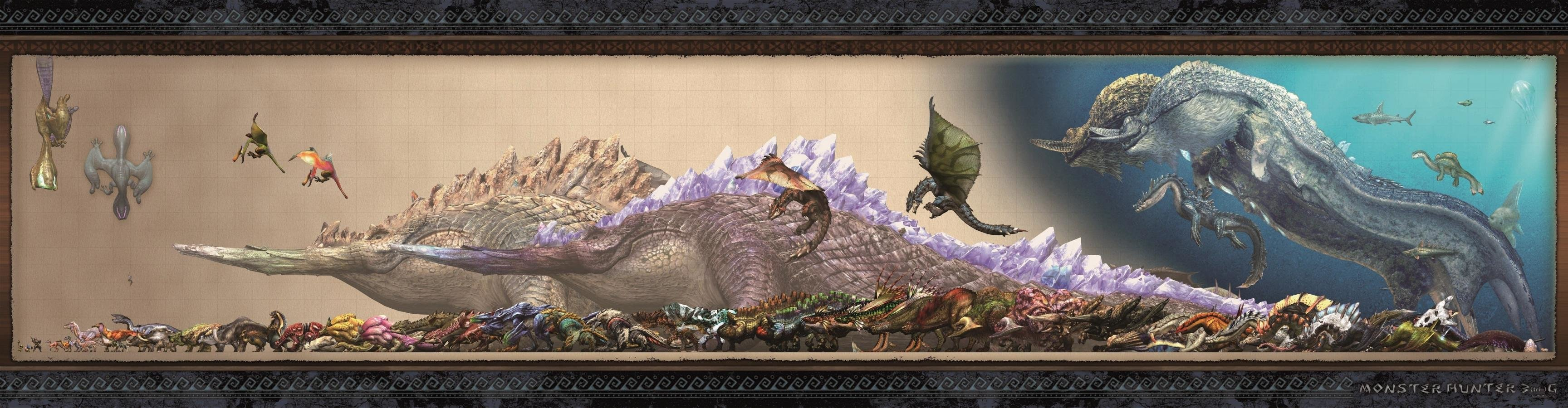 Best Monster Hunter wallpaper ID:294463 for High Resolution triple screen 3456x900 desktop