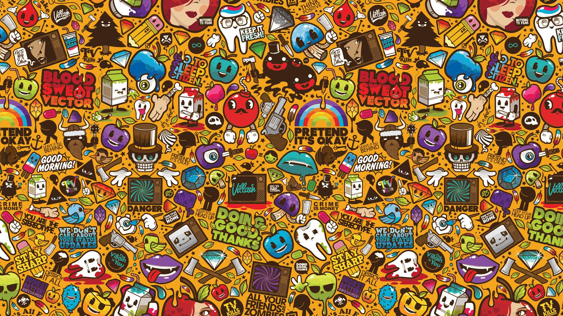 Fun Images Sticker Bomb Wallpaper Hd
