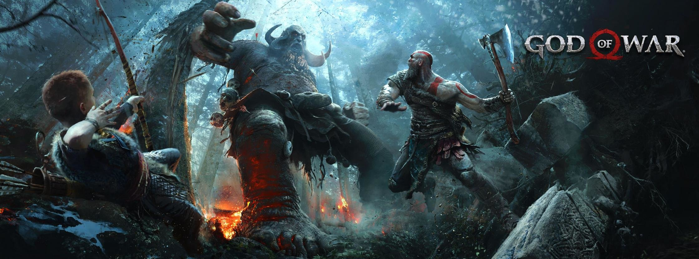Free download God Of War 4 background ID:70190 dual monitor 2240x832 for desktop