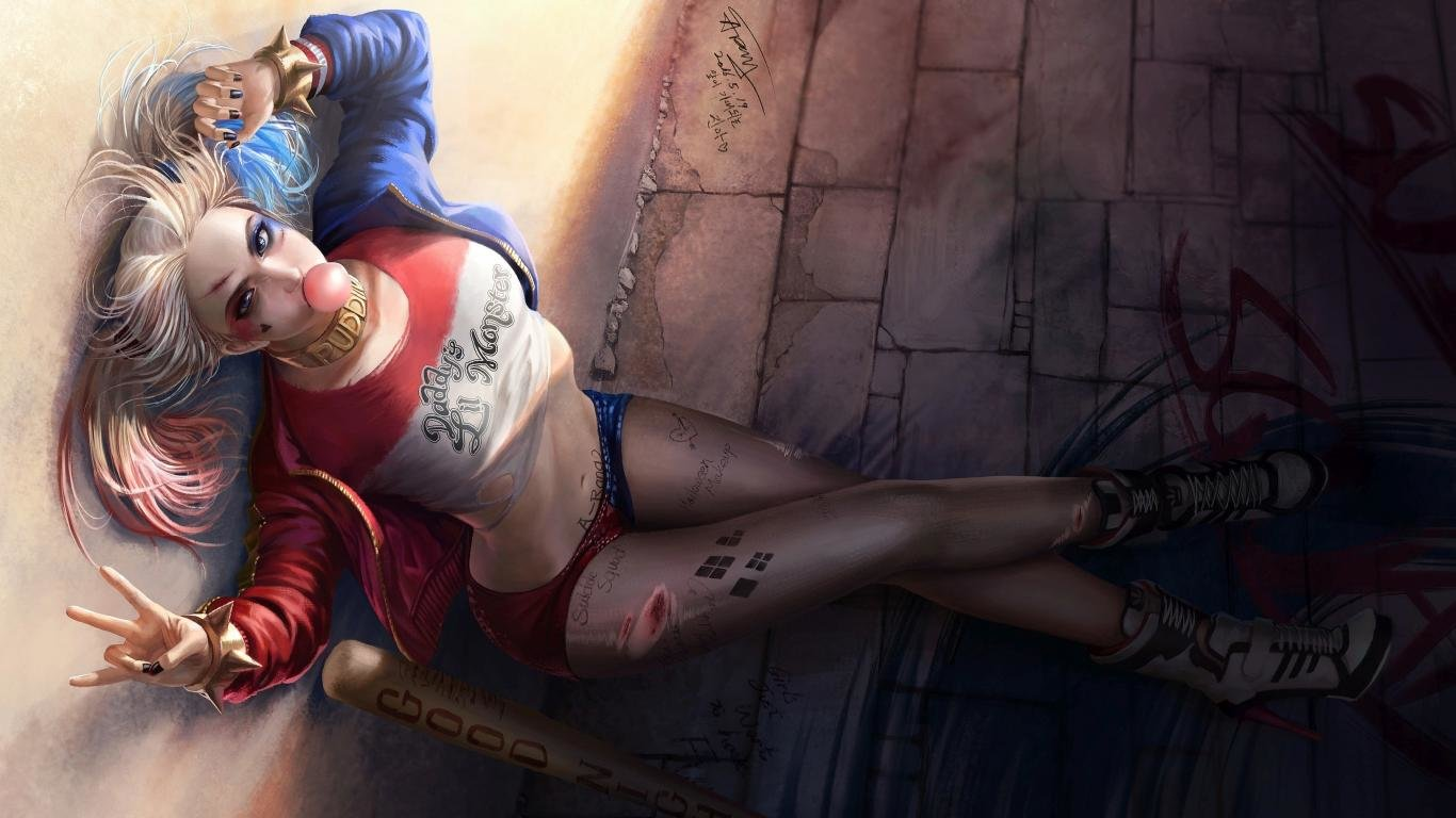 Best Harley Quinn wallpaper ID:240729 for High Resolution 1366x768 laptop PC