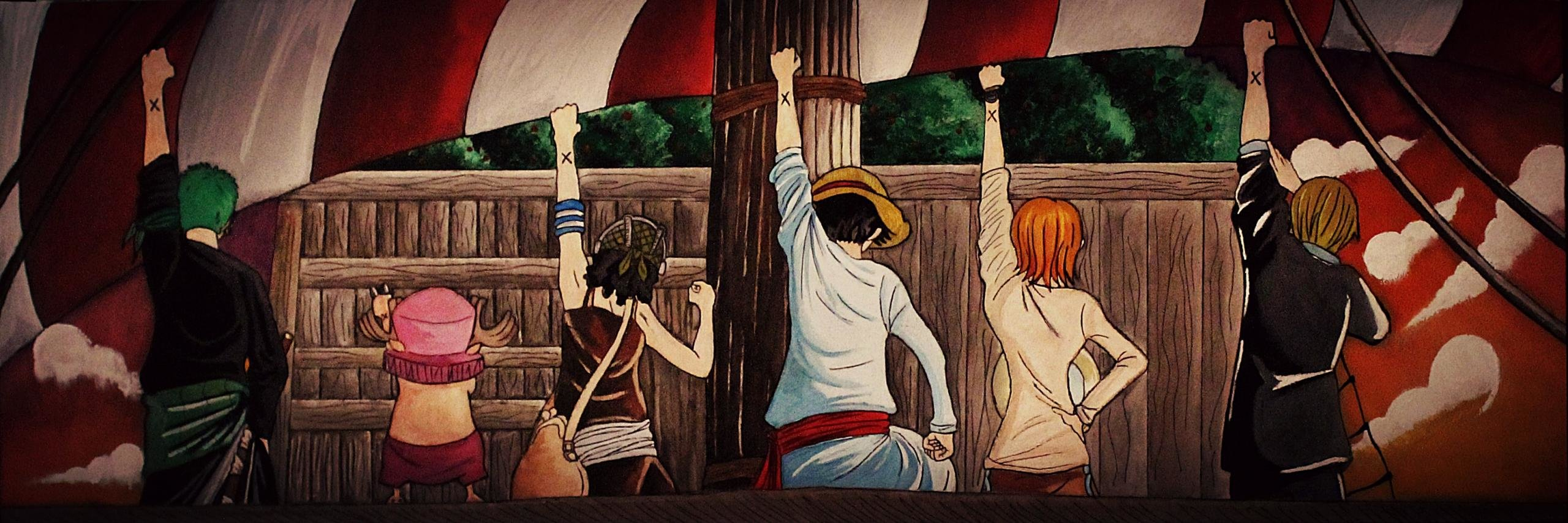 High resolution One Piece dual screen 2560x854 background ID:314326 for PC