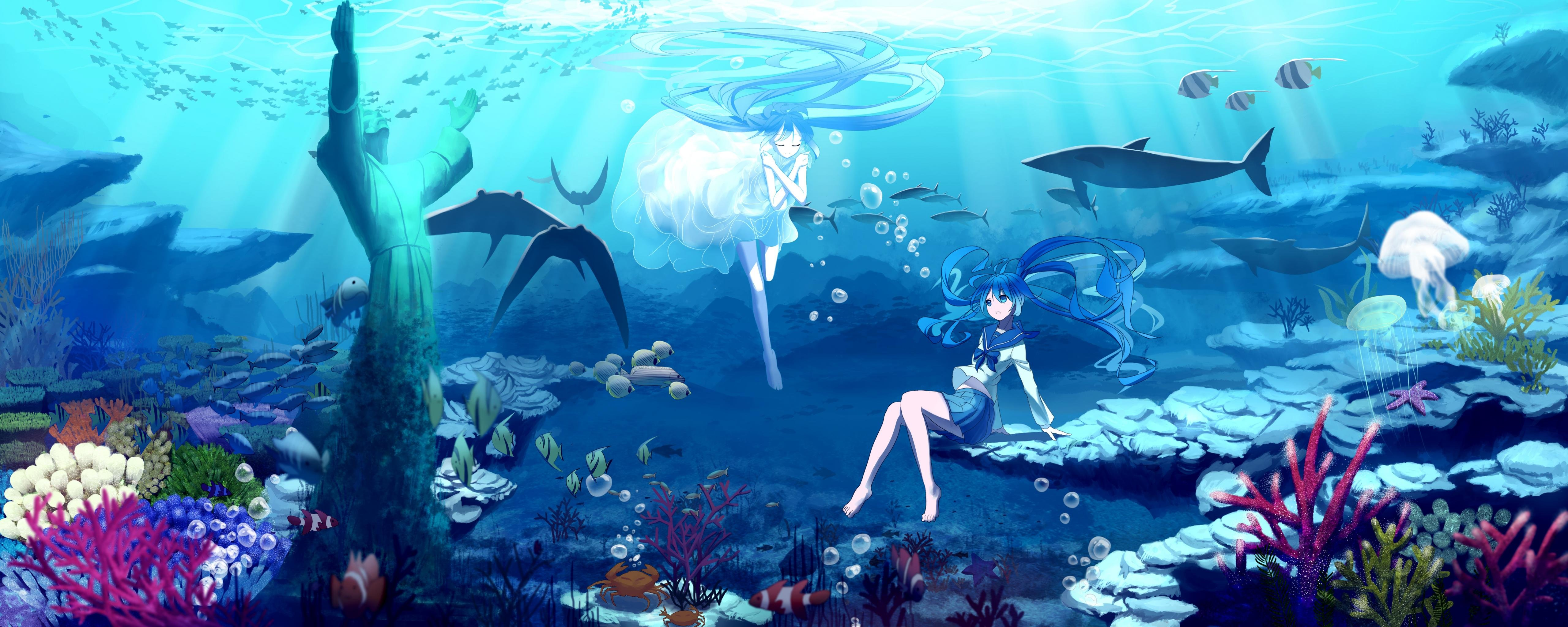 Download dual monitor 5120x2048 Hatsune Miku PC background ID:3251 for free