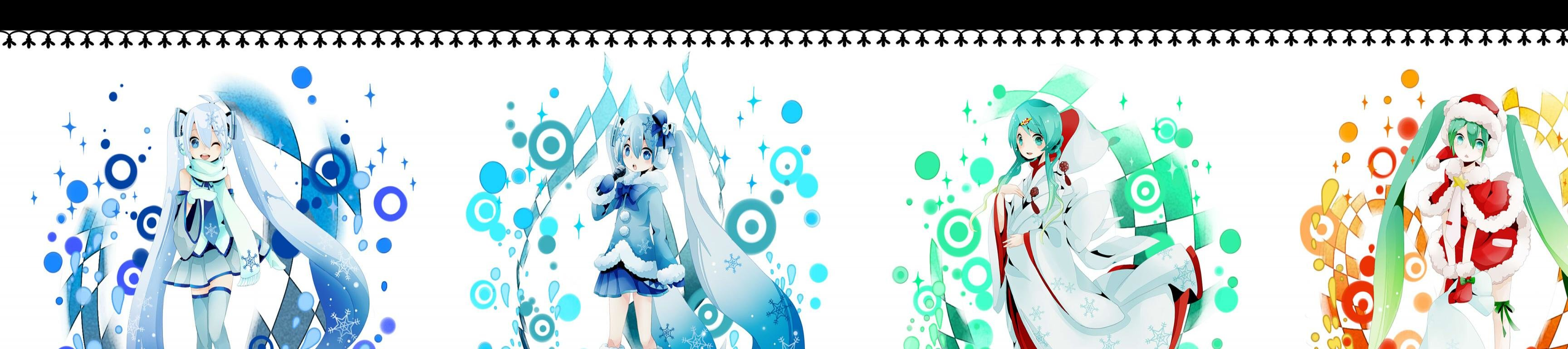 Free Hatsune Miku high quality background ID:5714 for triple screen 3456x768 PC