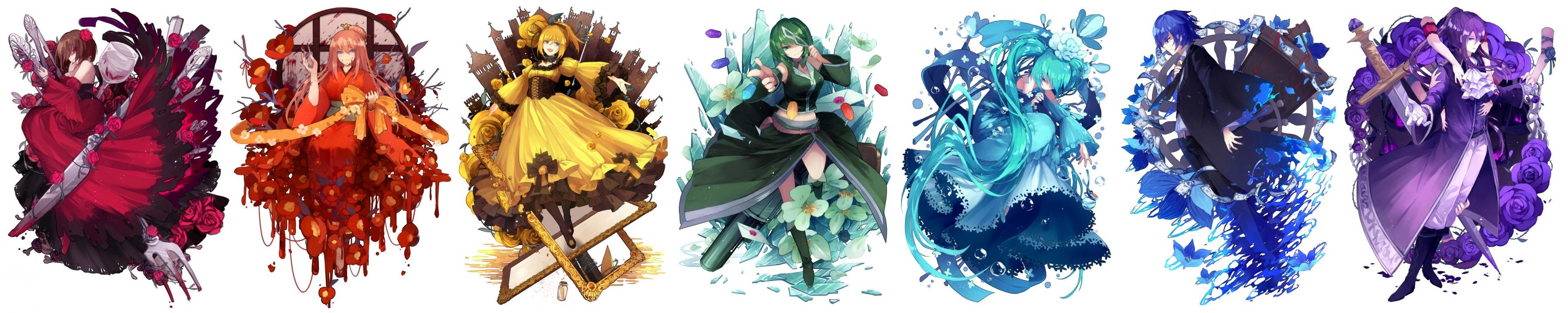 Download triple monitor 3600x720 Vocaloid desktop wallpaper ID:5563 for free