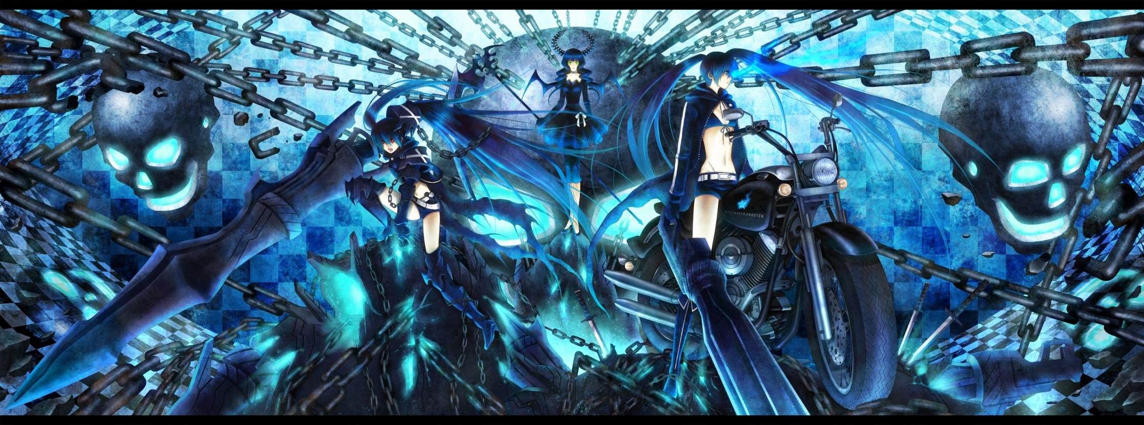 Dual Monitor Black Rock Shooter Wallpapers Hd Backgrounds