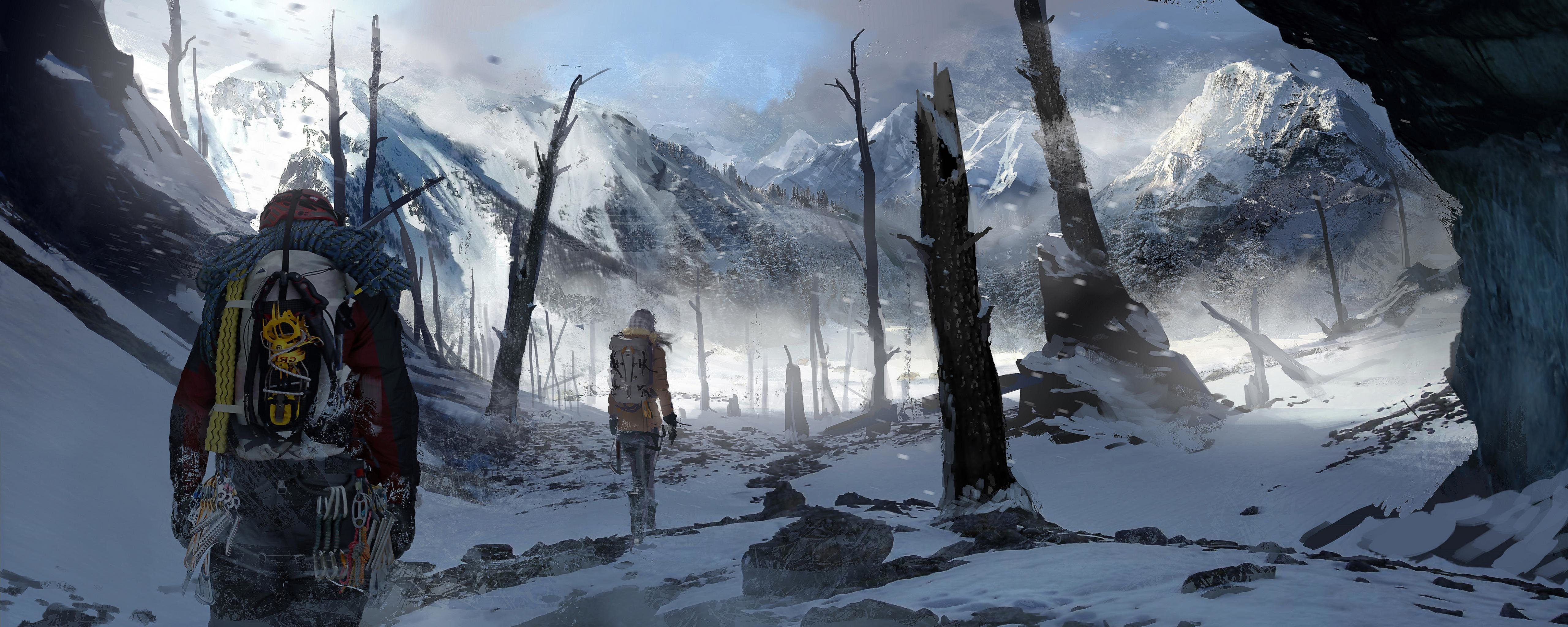 Download dual monitor 5120x2048 Rise Of The Tomb Raider desktop wallpaper ID:83994 for free