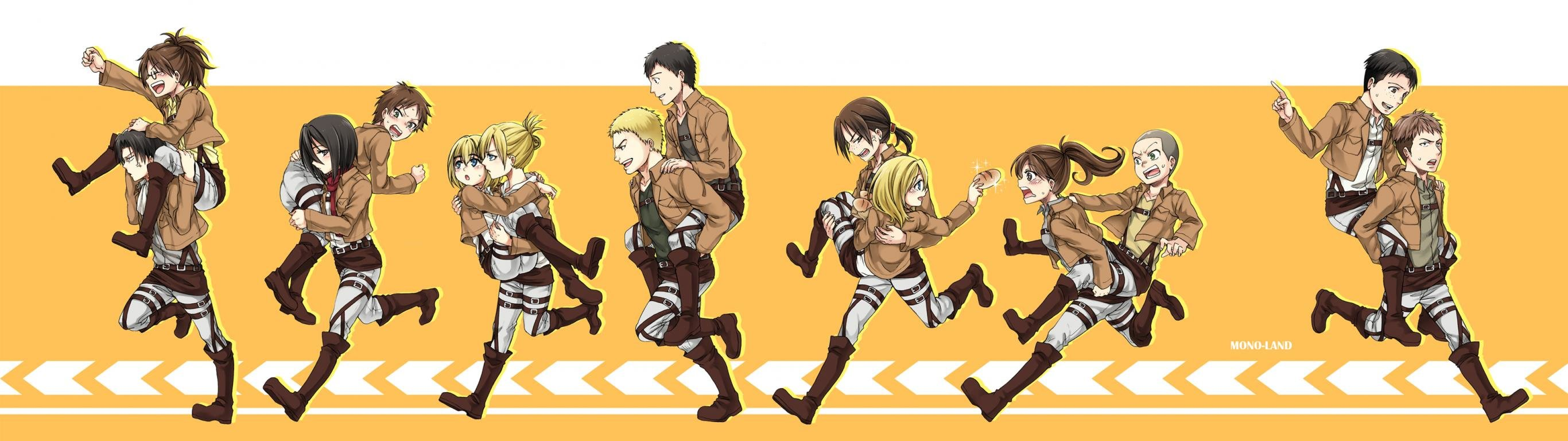 High resolution Attack On Titan dual monitor 2732x768 background ID:206898 for computer